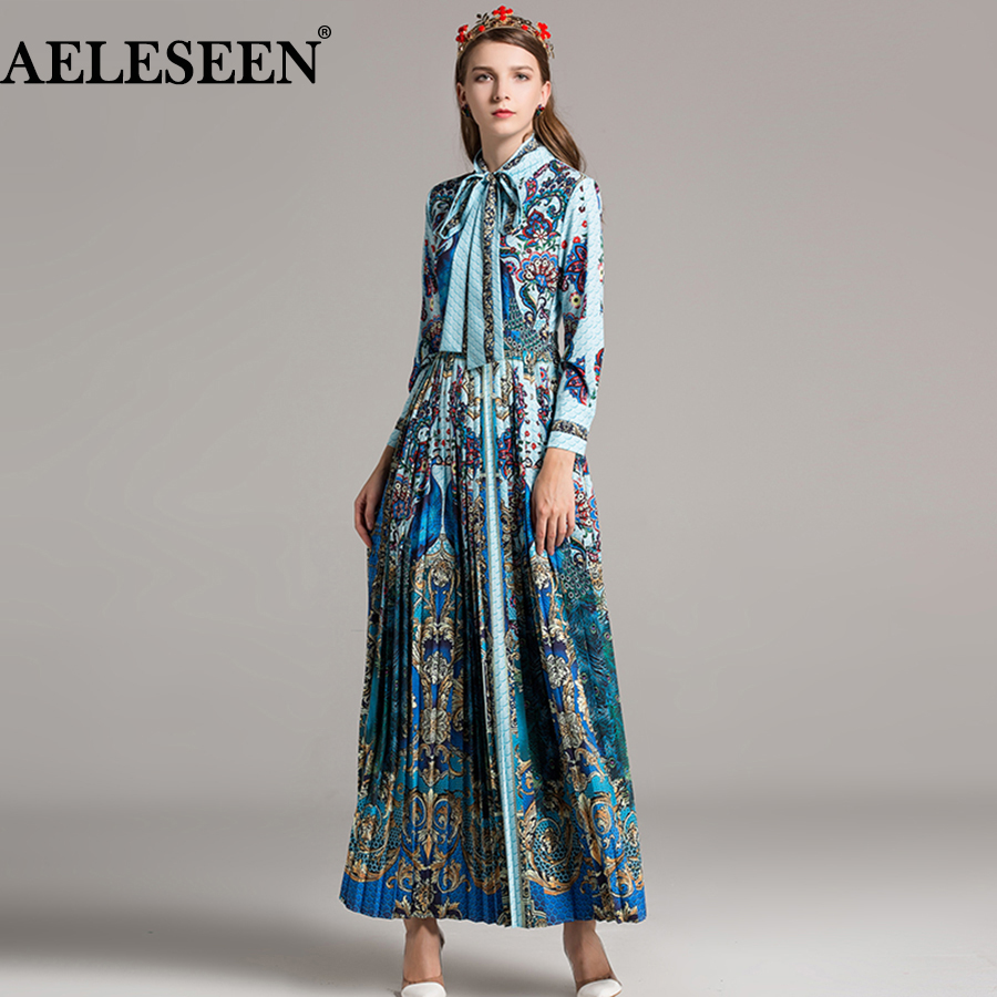 Luxury Maxi Women Vestidos Dresses 2018 Spring Fashion New Half Sleeve Ankle-Length Exotic Print Bow Pleated Slim Elegant Dress