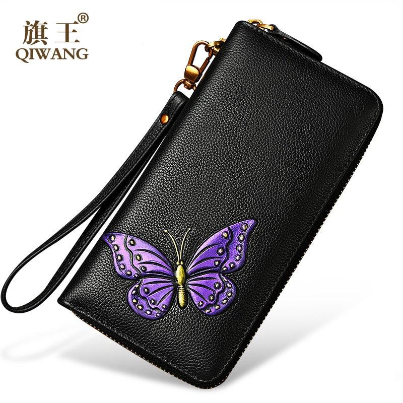 Fashion Flower Genuine Leather Women Wallet Colorful Butterfly Purse New Female Wrist Wallet for Women Best Gift