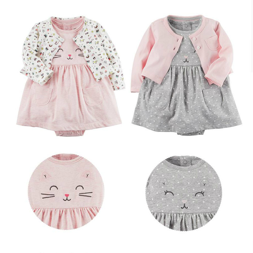 Limited baby girl cardigan dress set 2 pieces bodysuit Long Sleeve Cardigan romper dresses cotton clothes cartoon animal pattern geometric pattern irregular front fly cardigan