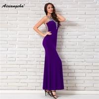 18 New arrival Sleeveless Halter Purple Floor Length Appliques Sequined Mermaid Long Elegant Evening Dresses vestido de festa