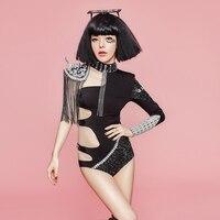 Певица ночной клуб Боди Рок Джаз Танцы костюм черный модные, пикантные Блестящие кристаллы костюмы этап одежда для сцены DJ