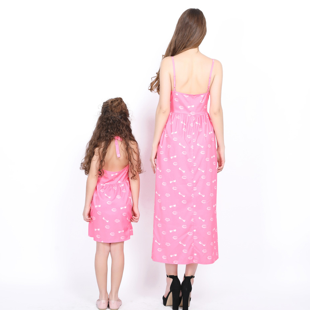 Matching Clothing Family Matching Outfits Girl Summer Long Slim Dress 2019 Mom Baby Mother Daughter Pink Dress Bowknot Family