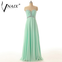 Vnaix P1134 Sweetheart With Crystal Beading Long Chiffon Mint Long Prom Dresses Evening Formal Party