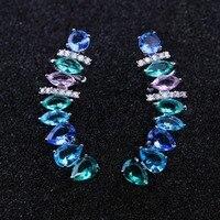 Trendy Multi Color Crystal Stud Earrings Cubic Zirconias Ear Cuff Ear Clip on Earrings for Fashion Women Jewelry EFX002422