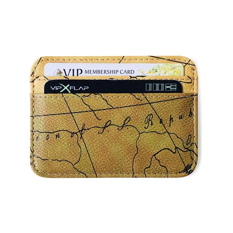 World Map Vintage Function Credit Business Card Holder Passport Cover Rfid Bank Storage Organizer Slim Purse PU Leather Wallet