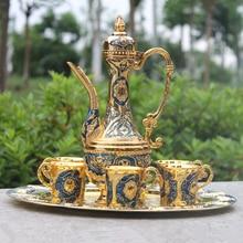"""12 """"platte, gold & blaue farbe metall wein/tee-set, mode zink-legierung wein set"""