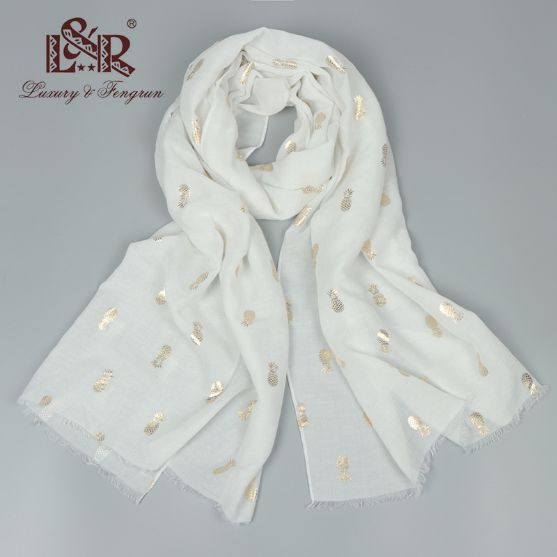 2018 Luxury Brand Silk Scarf Women Cotton Women Scarf Print Pineapple White Bandana Women Foulard Femme Shawl And Capes Hijab
