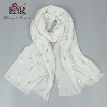 2018 Luxury Brand Silk Scarf Women Cotton Women Scarf Print Pineapple White Bandana Women Foulard Femme Shawl And Capes Hijab(China)