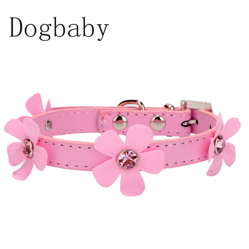 Dogbaby Small Dog Collar Bling Crystal With Flowers Collars for Dog Clothes Jewelry Accessories Puppy Product Wedding Party