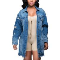 2018 Autumn Vintage Womens Denim Long Sleeve Bomber Jacket With Pocket Ladies Distressed Ripped Streetwear Jacket Outwear