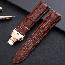 Leather Watchband Cow Gold Butterfly Buckle Lizard Texture Watch Band 14mm 16mm 18mm 19mm 20mm 22mm 24mm
