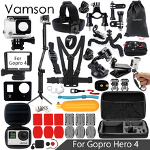 Vamson for Gopro Hero 4 Accessories Set Protection Frame Waterproof Monopod for Gopro hero 4 Action Camera VS06