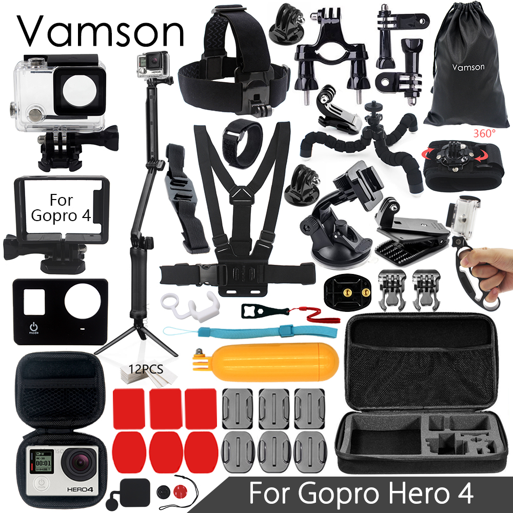 Vamson for Gopro Hero 4 Accessories Set Super Kit Waterproof Housing case 3 way Monopod for Go pro hero 4 Action Camera VS08 ri 008 activity connection chain accessories for gopro hero 4 3 3