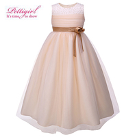 New Fashion Beige Big Girls Party Dresses With Flower Sash Beading Kids Wedding Dress Ankle-Length Children Clothing GD81204-13