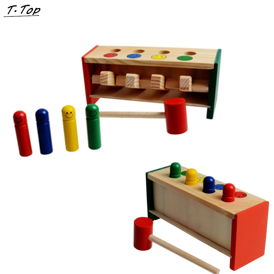 Colorful Mini Cute Wooden Hammer Pounding Bench Blow Air Interesting Toy For Baby Kids Gifts
