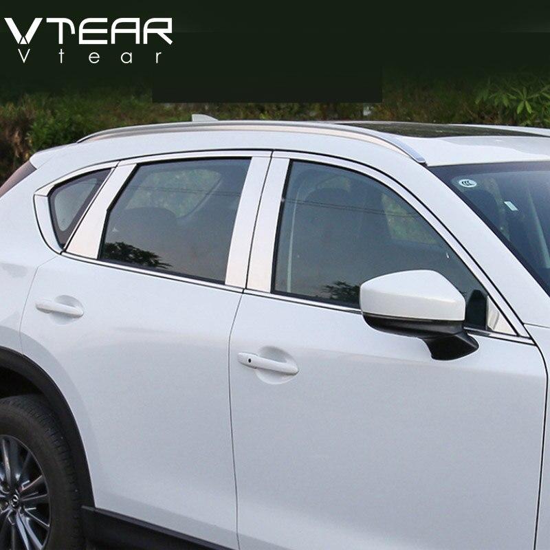 Vtear для Mazda CX-5 CX5 2017 2018 автомобиль полный отделка окна отделка полосы крышку Нержавеющаясталь наружные автомобильные аксессуары для укладк...