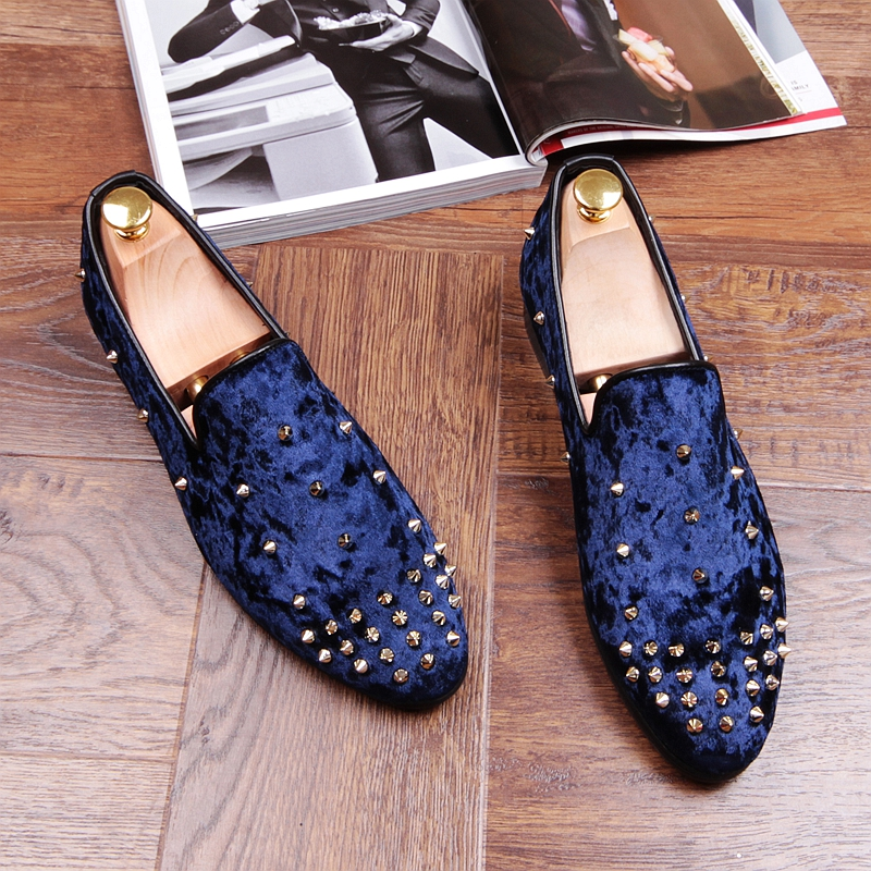 2017 Fashion Men's Rivets Loafers Slipper Casual Shoes Men's Flats   Dress Wedding Party Shoes Blue/black/red Dropship full rivets studded espadrilles men black casual flat shoes loafers wedding dress shoes mocassin homme flats sapatos masculino