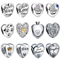 WYBEADS Unique Silver Bead Love Heart Symbol Charm European Beads Fit Pandora Style Bracelet & Bangle DIY Accessories Jewelry