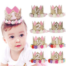 1pc Happy Birthday Party Hats Decor Cap One Hat Princess Crown 1st 2nd 3rd Year Old Number Baby Kids Hair Accessory