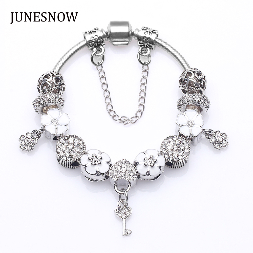 New Design White Flower Beads fit Charm Brand Bracelet With Crystal Women Silver Plated Jewelry