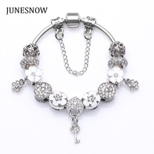 New Design White Flower Beads fit Charm pandora Brand Bracelet With Crystal Women Silver Plated Jewelry Diy Pulseras Mujer