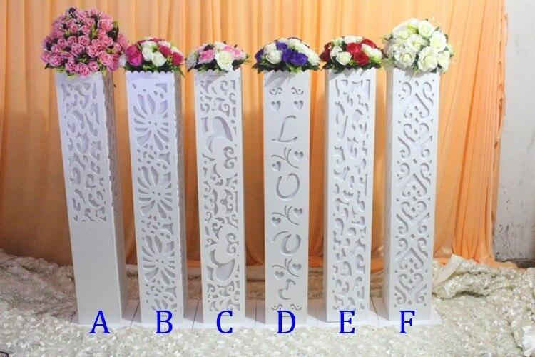 6pcs Wholesale white wedding t-road column without light Party carved wedding pillar wedding stand wedding pillar decoration