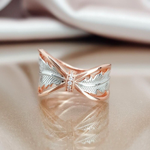 цена на New Arrival Rose Gold Leaf Big Band Rings with Zircon Stone for Women Wedding Engagement Cute Ring Fashion Jewelry 2019