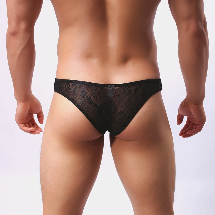 Mens lace open front open back briefs green