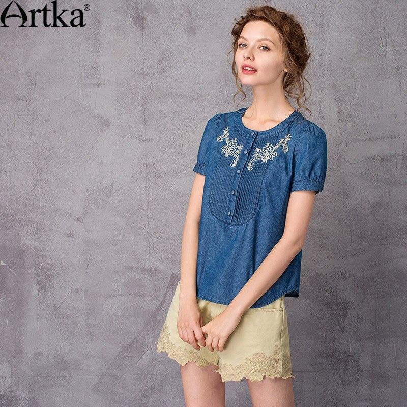 ARTKA femmes été nouvelle broderie coton Denim chemise Vintage o-cou à manches courtes comfortable all-match chemise SN10372X