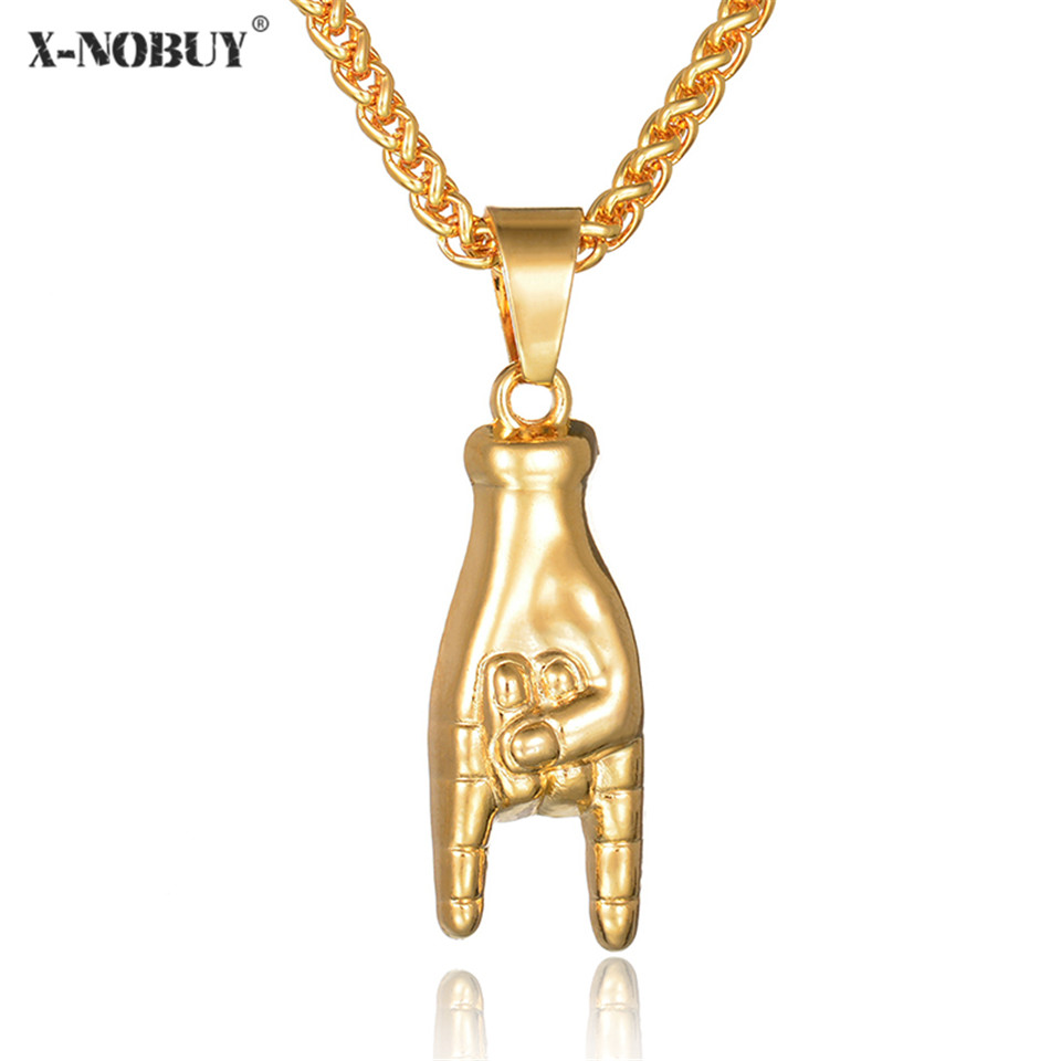 X-NO BUY Stainless Steel Gold Color Finger Shape Pendant Necklace Hip Hop Long Link Chain Fashion Necklaces For Unisex Jewelry