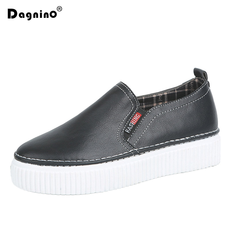 DAGNINO Spring Women PU Leather Loafers Sewing Flat On Platform Shoes Woman Slip On Sneakers Solid Creepers Ladies Casual Shoes phyanic 2017 gladiator sandals gold silver shoes woman summer platform wedges glitters creepers casual women shoes phy3323