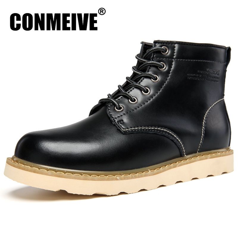 Hot Sale Genuine Leather Boots Men Winter Bota Masculina Botas Hombre Casual Safety Shoes Mens Rubber Lace Up Brand Ankle Black rwby letter hot sale wool beanie female winter hat men