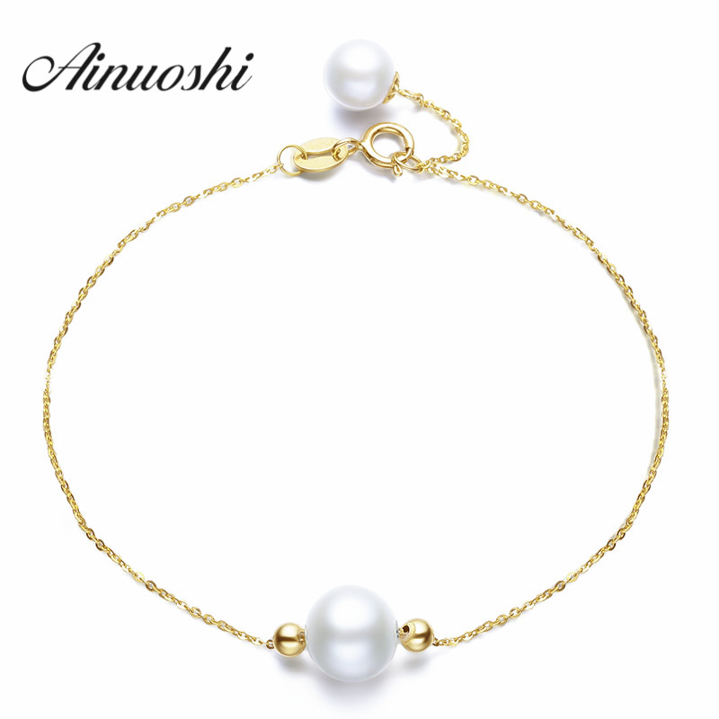 AINUOSHI 18K Yellow Gold Natural Cultured Freshwater Pearl Trendy Chain Bracelets Round White Pearl for Young Lady Birthday Gift yoursfs heart necklace for mother s day with round austria crystal gift 18k white gold plated