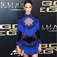 High Quality 2018 New Runway Star European And American Fashion Sexy Heavy Beading Hollow Fringed Luxury Long Sleeved Dress
