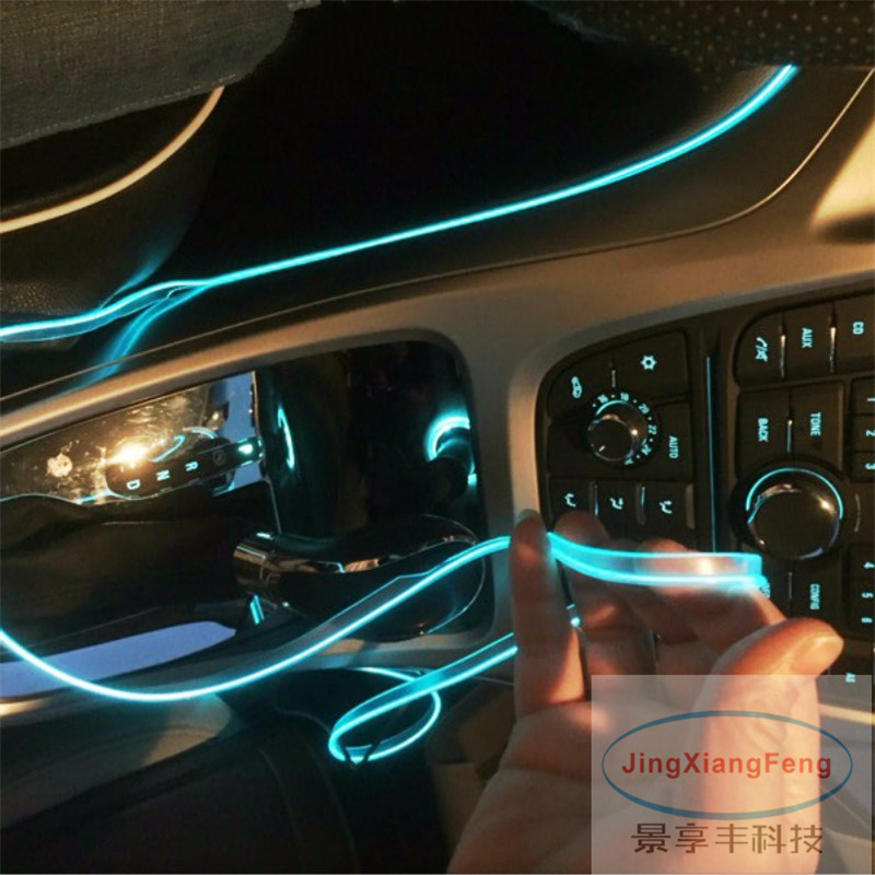 JingXiangFeng 5M Car Accessories Styling Driving Night Ambient EL Cold Line DIY Decorative Dashboard With 12V Cigarette Drive