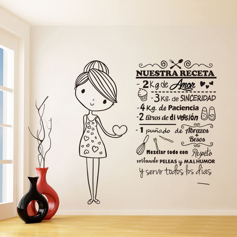 Stickers A Cute Girl Nuestra Receta Vinyl Wall Art Decal Living Room Home Decor Poster House Decoration