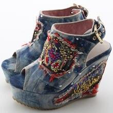 Женские джинсовые сандалии desinger синие на высоком каблуке