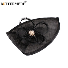BUTTERMERE Black Fedora Hat Women Feather Pearl Church Pillbox Female Linen Flower Elegant Bride Wedding Party Hats And Caps