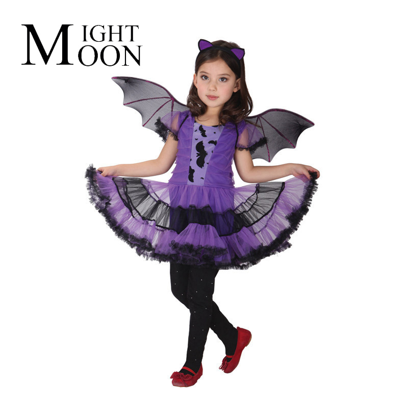 MOONIGHT Children'S Stage Performance Clothing Cos Clothing Halloween Dress Purple Bat Wings Suit Of The Girls