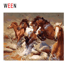 WEEN Horse Cross River Diy Painting By Numbers Animal Oil On Canvas Cuadros Decoracion Acrylic Wall Art Home Decor 2018