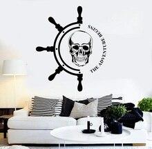Autocollant mural en vinyle pour gouvernail et pirate, décoration artistique, pour la salle de bain et la maison, enthousiasme nautique 1h15