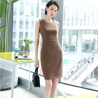 2018 New Style High Quality Fabric Dresses For Women Business Work Wear Dress Female Clothes OL Uniform Styles Elegant Apricot