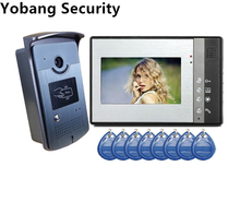 Yobang Security freeship 7″ Video Door Phone Doorbell door Intercom IR Camera Monitor with RFID Keyfobs RFID Access Camera