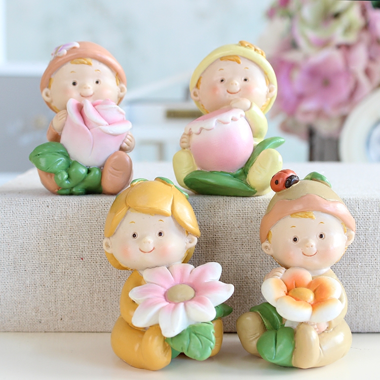 5*7.5 cm Cute Resin Baby Carry Flower Figurine Children Bedroon Decoration Home Decor Gift 4pcs/lot DEC216 ...