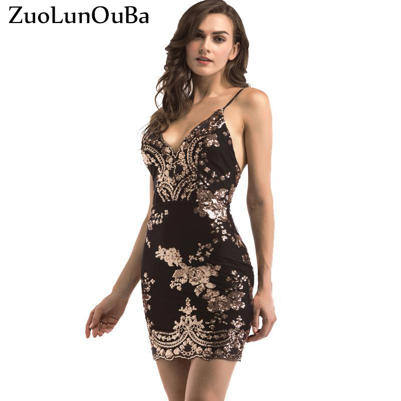 ZuoLunOuBa Women Gold Black Sequins <font><b>Dress</b></font> <font><b>2018</b></font> New <font><b>Sexy</b></font> V-neck Backless Women <font><b>dresses</b></font> <font><b>Luxury</b></font> Party Club Wear Sequined Lace <font><b>Dress</b></font> image