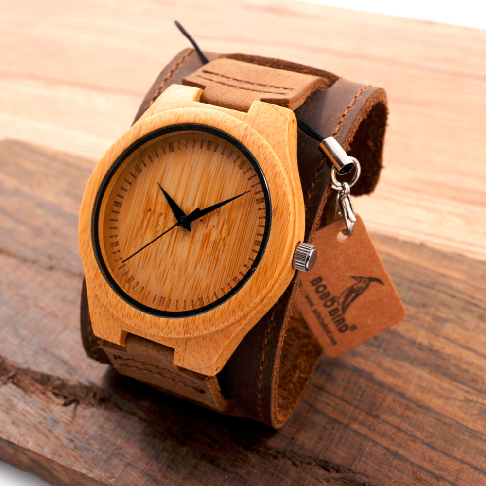 New Men Design Bamboo Wristwatches With Wider Genuine Cowhide Band for Men and Women Luxury Wood Wrist Watch as Gifts bobo bird brand new sun glasses men square wood oversized zebra wood sunglasses women with wooden box oculos 2017