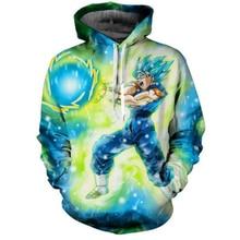 Лидер продаж аниме Dragon Ball Супер Saiyan толстовки с капюшоном Мужчины Женщины Аниме Толстовка Goku/Вегета принт 3D повседневные толстовки пуловеры