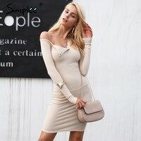 Simplee осень одно плечо сексуальное платье Bodycon Для женщин Длинные рукава эластичные белые платья зимние вечерние клуб черный мини-платье 2017