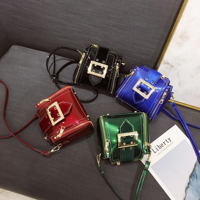 Shiny Leather Bags For Women Fashion Mini Over The Shoulder Brand Designer Sling Bag Green Blue 3