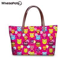 WHOSEPET Rosa Tragetaschen für Frauen Eulen Druck Handtaschen Hohe Qualität Schultertasche Wasserdichter Shopper Neopren Handtaschen